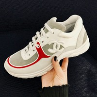 Chanel Women Fashion Leather Sneakers Sport Shoes B-GSXC-LXYZ Red Edge