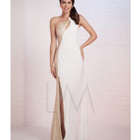 LM by Mignon HY1209 White & Gold Asymmetrical One Shoulder Gown 2015 Prom Dresses