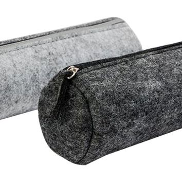 FinWish Pen/Pencil/Stationery Pouch Bag Case Cosmetic, Black/Gray, Set of 2