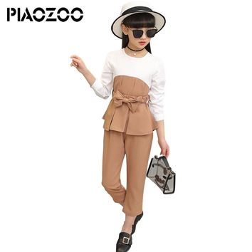 Kids Outfits For Teenage Girls Spring Patchwork Long Sleeve Clothes Sets Girls School Shirts & Pants Suits Clothing Sets