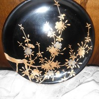 Exquisite Gold Flowers on Black Cabinet Plate Gold Maki-e On Urushi Traditional Japanese Fine Art 1900s