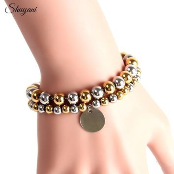 Silver Gold Color Stainless Steel Ball Beads Bracelets Personalized Customized Name ID Plates Pendant Bangle Women Men Jewelry