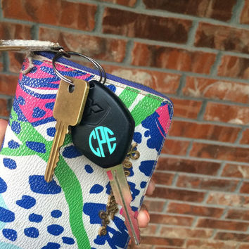 Key Monogram Decal - Car Keys Monogram Decal - Set of 2 -  Any Color -  Custom Decal -  Monogram - Key Fob - Small Decal - TWO -