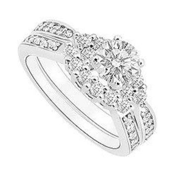 Diamond Engagement Ring with Wedding Band Set : 14K White Gold - 0.75 CT Diamonds