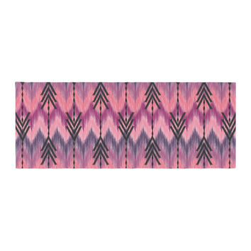 "Amanda Lane ""Indigo Orchid Chevron Arrows"" Pink Purple Bed Runner"