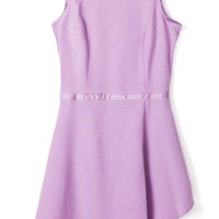 Purple Sleeveless Asymmetrical Mini Dress with Back Zipper