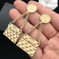 CHANEL Fashion new round square long section women earrings Golden