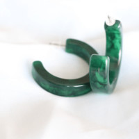 Elia Earrings- Green Marble