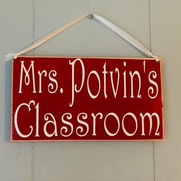 10x6 Personalized Teacher Classroom Wood Sign