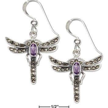 Sterling Silver Earrings: Marcasite And Amethyst Dragonfly French Wire Earrings