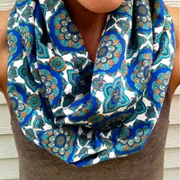 Fall Infinity Scarf in Blue, Emerald and White