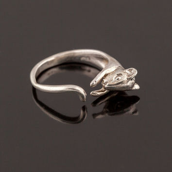 Handcarved Sterling Silver Rat Ring. Adjustable Rat Ring. Silver Rodent Wrap Ring. Hugging Rat Ring. Sterling Mouse Ring. Birth Year Ring.