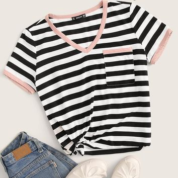 Striped Print Pocket Patch Ringer Tee