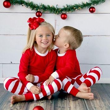 Autumn Winter 2pcs Toddler Kids long sleeve red set Baby Boys Girls Striped Outfits Christmas Pajamas Sleepwear Set