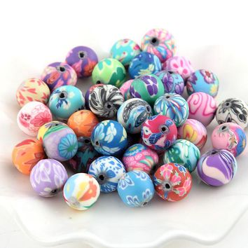 100pcs/lot 12mm Mixed Fimo Polymer Clay Spacer Loose Beads For Handmade Bracelet Necklace Accessories Jewelry Making