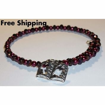 Bible Deep Burgundy Glass Pearl & Swarovksi Crystal Stackables Artisan Crafted Bangle Wrap Bracelet