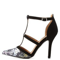 Blue Combo Floral Print T-Strap Pointed Toe Heels by Charlotte Russe