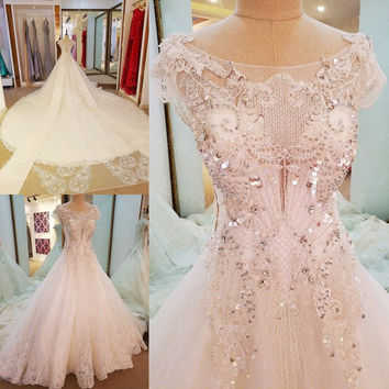 LS65577 Sparkly crystal wedding dresses 2017 cap sleeves ball gown wedding gowns with long tail robe de mariage 2017 real photos