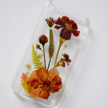 Iphone 4 4s 4G case Iphone 4 case Iphone 4s case real flower case dried Pressed Flower case Crystal Clear Case Phone Cases hard cover iphone