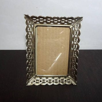 Vintage 3 1/2 x 5 Ornate Metal Filigree Gold Tone Picture /Photo Frame