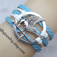 Hunger games retro inspired catching fire jewelry Mockingjay inspired bracelet hipsters jewelry Leather Bracelet Friendship Gift white&blue