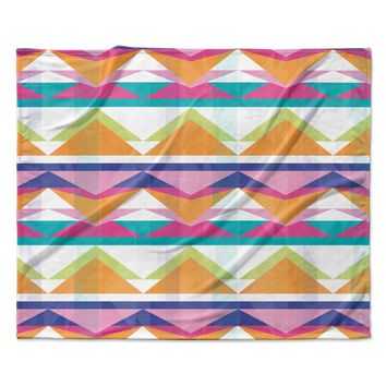 "Miranda Mol ""Triangle Waves"" Geometric Pattern Fleece Throw Blanket"