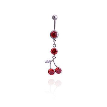 New Charming Dangle Crystal Navel Belly Ring Bling Barbell Button Ring Piercing Body Jewelry = 4804903812