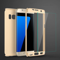 360 Degree Full Protective Case For Samsung Galaxy S7 S6 Edge S5 J5 J7 2016 Phone Bags Hard PC Cover with Tempered Glass Flim