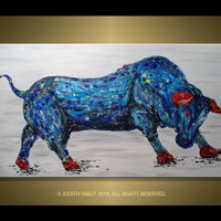 "Bull Painting, Abstract Animal Art, 48"" Original Red Horn Bull, HandMade Acrylic, Powerful Bull, Modern Fine Art by Judith Yabut"