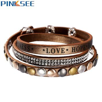 *New Leather Bracelet Rhinestone Crystal Wrap Multilayer Bracelets for women pulseras mulher Punk Snap Jewelry