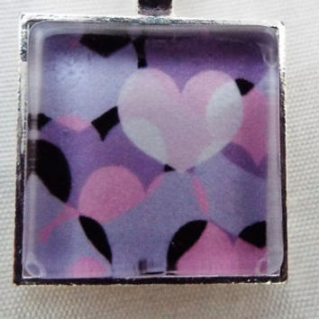 "Art Necklace,Pendant, Necklace, ""Floating Hearts"", Jewelry,  Pink, Purple, White, Hearts, Handmade,  Art Necklace, Art Jewelry, OOAK, Gift"