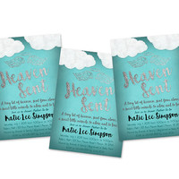 Heaven Sent Baby Shower Invitation - Boy Baby Shower Invitations - Little Man - Piece of Heaven Silver Foil Turquoise Blue - Vintage Baby