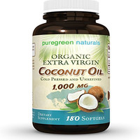 Coconut Oil Capsules - 1000 mg Organic Extra Virgin Coldpressed and Unrefined- 180 Softgels - Great Pills for Energy, Weight Management, Hair, and Skin
