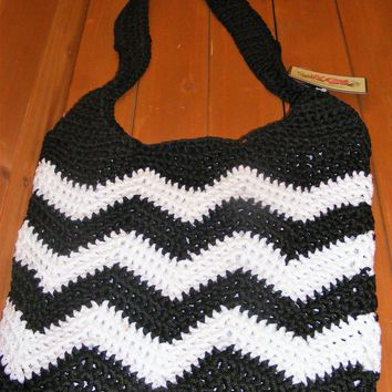 Black Chevron large Crocheted Handbag
