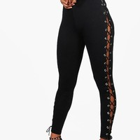 Kiara Premium Lace Up Side Leggings | Boohoo