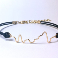 Custom Order Black Leather Cord with Gold Wire Soundwave Bracelet