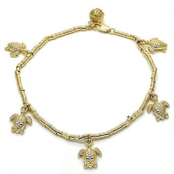 Gold Layered 03.179.0031.10 Charm Anklet , Turtle Design, Polished Finish, Golden Tone