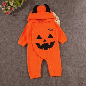Infant Baby set Boys Girls Halloween Clothes Pumpkin Hooded Romper Jumpsuit Toddler clothing Playsuit drop shipping