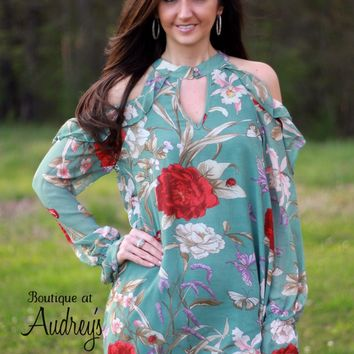Umgee Teal Cold Shoulder Dress with Ruffle Detail and Burnt Red Floral Print