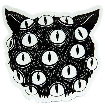 """I Have No Mouth and I Must Meow"" Creepy Cat Eyes Vinyl Sticker"