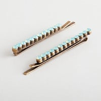 Opal Stones Bobby Pins, Set of 2