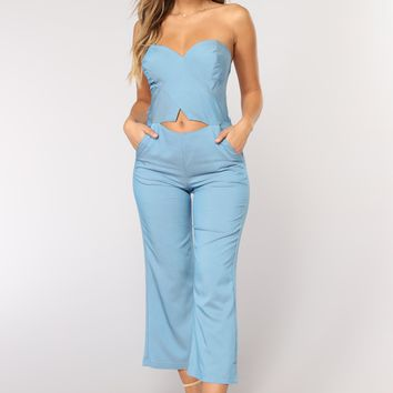 Harbor Island Culotte Jumpsuit - Denim