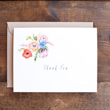 Thank you cards, boxed set of 6 cards with lovely hand painted flowers