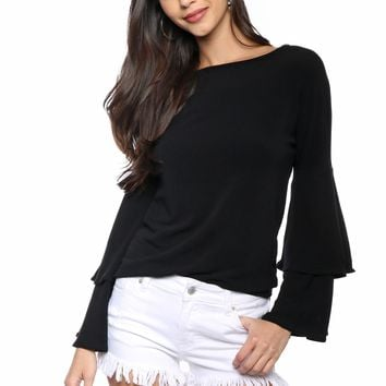 Sunday Stevens Ruffled Knit Top