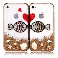 Lovers Kissing Fishes Rhinestone Case