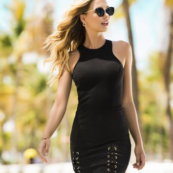 Edgy Summer Ribbed Dress