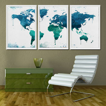 WORLD MAP Art Print, Large Wall Art World Map Poster, Watercolor World Map, Watercolor Painting, Watercolor Prints, Travel Watercolor (L15)