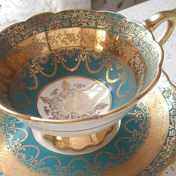 Antique Royal Stafford gold filigree tea cup and saucer, blue and gold tea cup set, English tea cup, bone china teacup, antique teacups