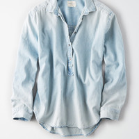 AE Denim Popover Blouse, Light Wash