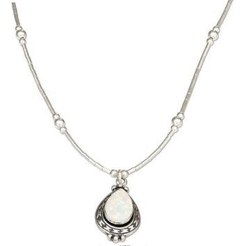 "STERLING SILVER 16"" LIQUID SILVER AND TEARDROP SYNTHETIC WHITE OPAL NECKLACE"